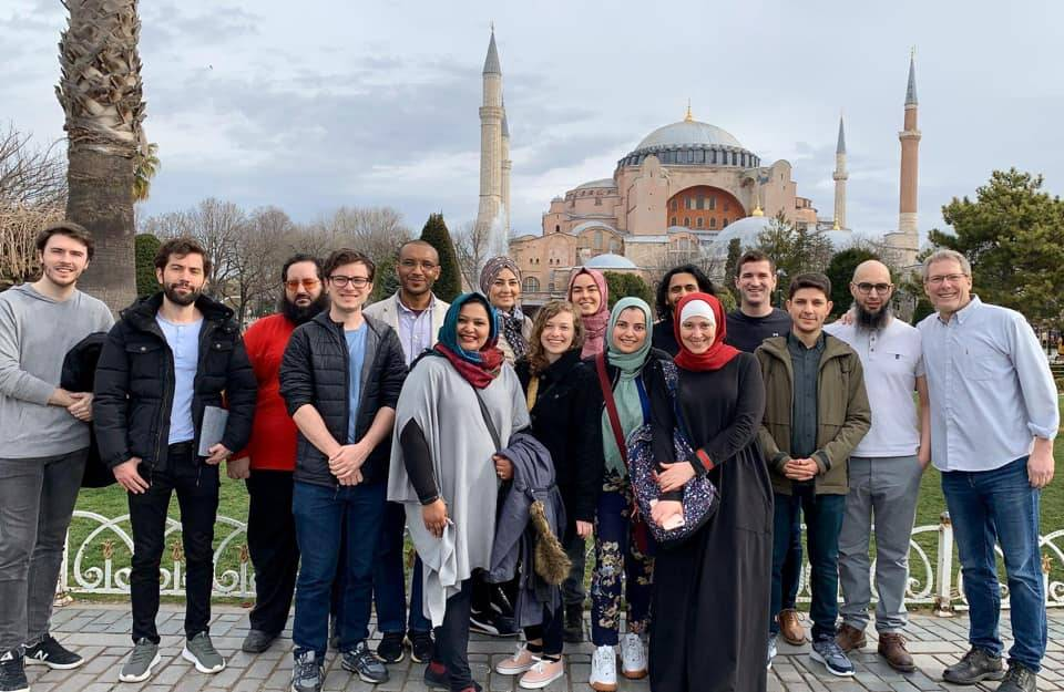 Group shot of scholars in front of Blue Mosque, Istanbul